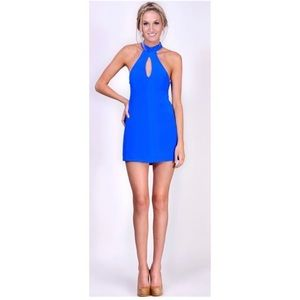 Naven Keyhole Vegas Blue Mini Silk Dress XS